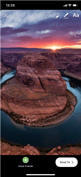 horseshoe bend zoomed in to fit instagram story dimensions