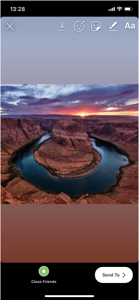 horseshoe bend zoomed out to fit instagram story dimensions
